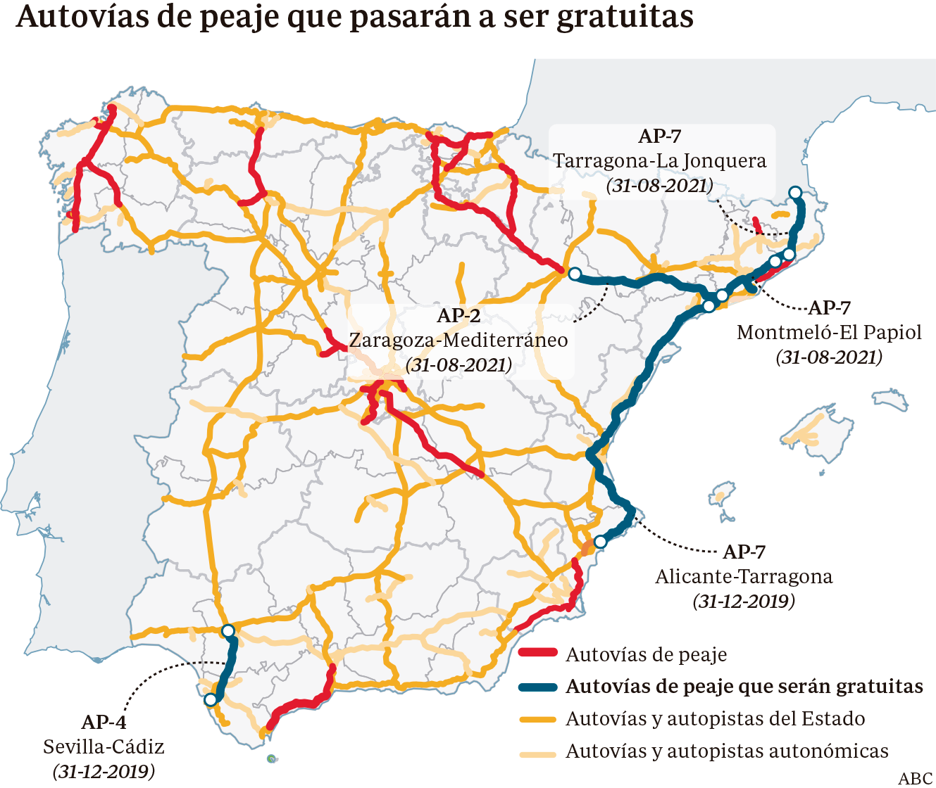 La Autopista AP-7 es gratis a partir de enero, excepto entre Alicante y Vera